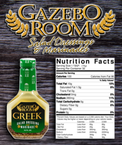Gazebo Room Greek Salad Dressing and Marinade Nutrition Facts